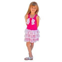 Mia Belle Baby Ruffled Hot Pink Lace Dress with Bow