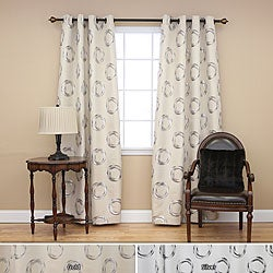 Metallic Circle Grommet 84-inch Curtain Panel Pair