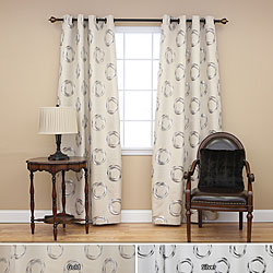 Metallic Circle Grommet 84-inch Curtain Panel Pair