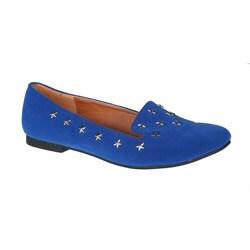 Refresh by Beston Women's 'Belin-02' Blue Star Studded Flats