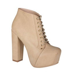 Refresh by Beston Women?s 'Dolly-03' Tan Chunky Heel Booties