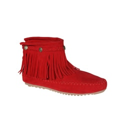 Refresh by Beston Women?s 'Mini-01' Red Fringe Ankle Booties