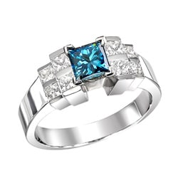 14k White Gold 1-1/4ct TDW Blue Round and Princess Diamond Ring (Size 5.5)