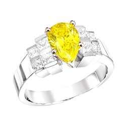 14k White Gold 1-4/5ct TDW Pear Yellow and Princess Diamond Ring (Size 5.5)