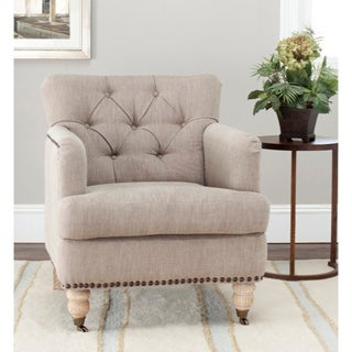 Safavieh Manchester Taupe Brass Nailhead Club Chair