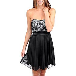 Stanzino Women's Silver/ Black Strapless Lace and Chiffon Cocktail Dress