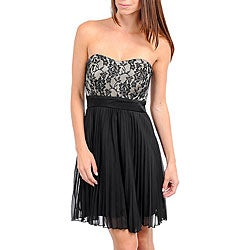 Stanzino Women's Black/ Tan Lace Overlay Chiffon Cocktail Dress