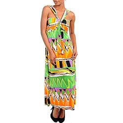 Stanzino Women&#39;s Orange/ Green Printed Maxi Dress