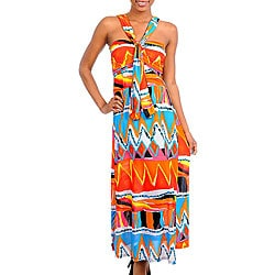 Stanzino Women's Orange/ Blue Printed Maxi Dress