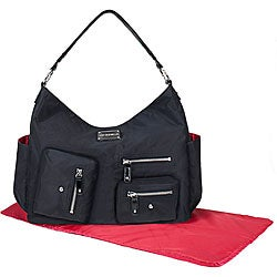 Amy Michelle Lotus Black Twill Diaper Bag