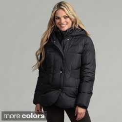 Larry Levine Machine-washable Water-resistant Hooded Down Parka Jacket