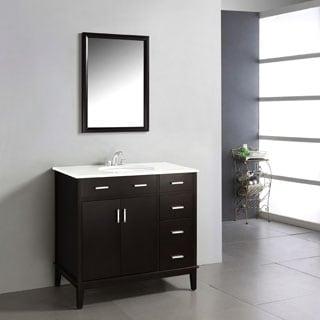 WYNDENHALL Oxford Dark Espresso Brown 37-inch 2-door Bath Vanity with White Quartz Marble Top