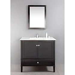 Windham Black 36 Inch Bath Vanity With 2 Doors Bottom Drawer And White Quart