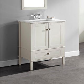 WYNDENHALL Windham Soft White 2-door 30-inch Bath Vanity Set with Bottom Drawer and White Quartz Marble Top