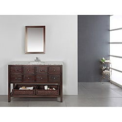 New Haven Walnut Brown 48-inch Bath Vanity with 2 Drawers and Dappled Grey Granite Top