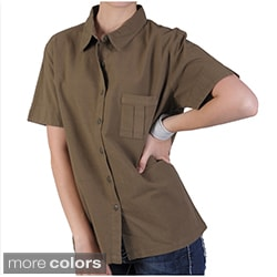 Tressa Designs Women&#39;s Point Collar Button-up Camp Shirt
