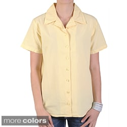 Tressa Designs Women's Notch Collar Button-up Camp Shirt