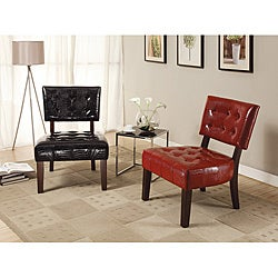 Lesha Black Crocodile Bicast Accent Chair