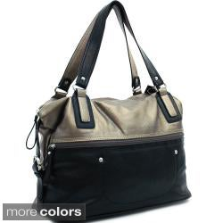 Dasein Large Zip-top Fully Lined Two-tone Faux-leather Tote Bag