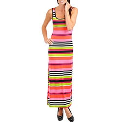 Stanzino Women's Pink/ Orange Striped Sleeveless Maxi Dress