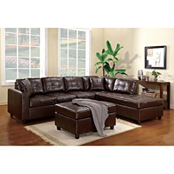 Milano Brown Bonded Leather Left Sectional Sofa Set