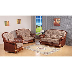 Flora 3-piece Fabric/ Top Grain Leather Sofa Set