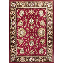 Alliyah Handmade Aurora Red New Zealand Blend Wool Rug (9'x12')