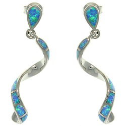 CGC Sterling Silver Created Opal Twist Earrings