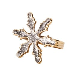 Saro Sparkling Goldtone Snowflake-shape Napkin Rings (Set of 4)