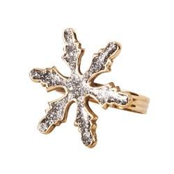 Saro Sparkling Goldtone Snowflake-shape Napkin Rings (Set of 4)