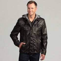 Izod Men's Faux Leather Jacket with Zip-out Hood