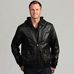 Izod Men's Faux Leather Jacket with Zip-out Fleece