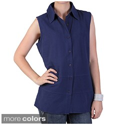 Tressa Designs Women's Pointed Collar Button-up Sleeveless Top