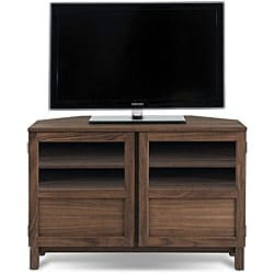 J & K Walnut 46-inch Wood Base Corner TV Cabinet