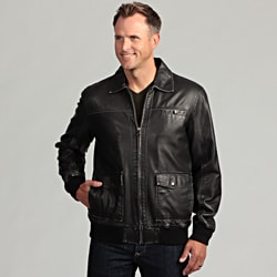 Izod Men's Washed Faux Leather Bomber Jacket