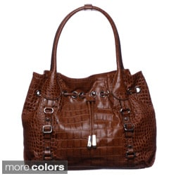 Jessica Simpson Steffania Drawstring Embossed Croco Tote Bag