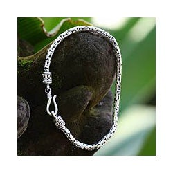 Sterling Silver Men's 'Borobudur Collection II' Bracelet (Indonesia)