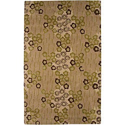 Hand-tufted Beige/ Green Wool Blend Rug (3'6 x 5'6)