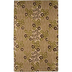 Hand-tufted Beige/ Green Wool Blend Rug (8' x 11')