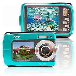 Aqua 5500 18MP Dual Screen Waterproof Blue Digital Camera