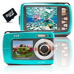 Aqua 5500 18MP Dual Screen Waterproof Blue Digital Camera with 4GB Card