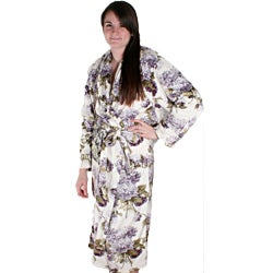 Hydrangea Print Microplush Bath Robe
