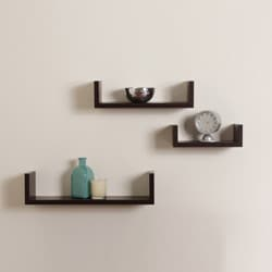 Floating &#39;U&#39; Walnut Finish Shelves (Set of 3)
