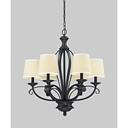 Charleston Matte Black and Creme Linen 6-light Chandelier