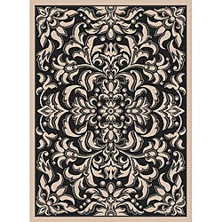 Garden Town Collection Black Area Rug (7'10 x 10'3)