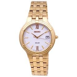 Seiko Men's White/ Gold Solar Watch