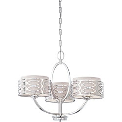 Harlow - 3 Light Chandelier - Polished Nickel Finish with Slate Gray Fabric Shade