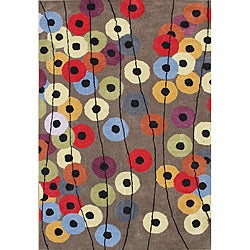 Alliyah Hand Made Tufted Metro Circles Elephant Grey New Zealand Blend Wool Rug (9' x 12')