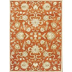Alliyah Handmade Rusty Orange New Zealand Blend Wool Rug (6' x 9')