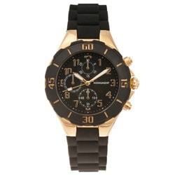 Monument Women's Rubber Strap Goldtone Sporty Watch